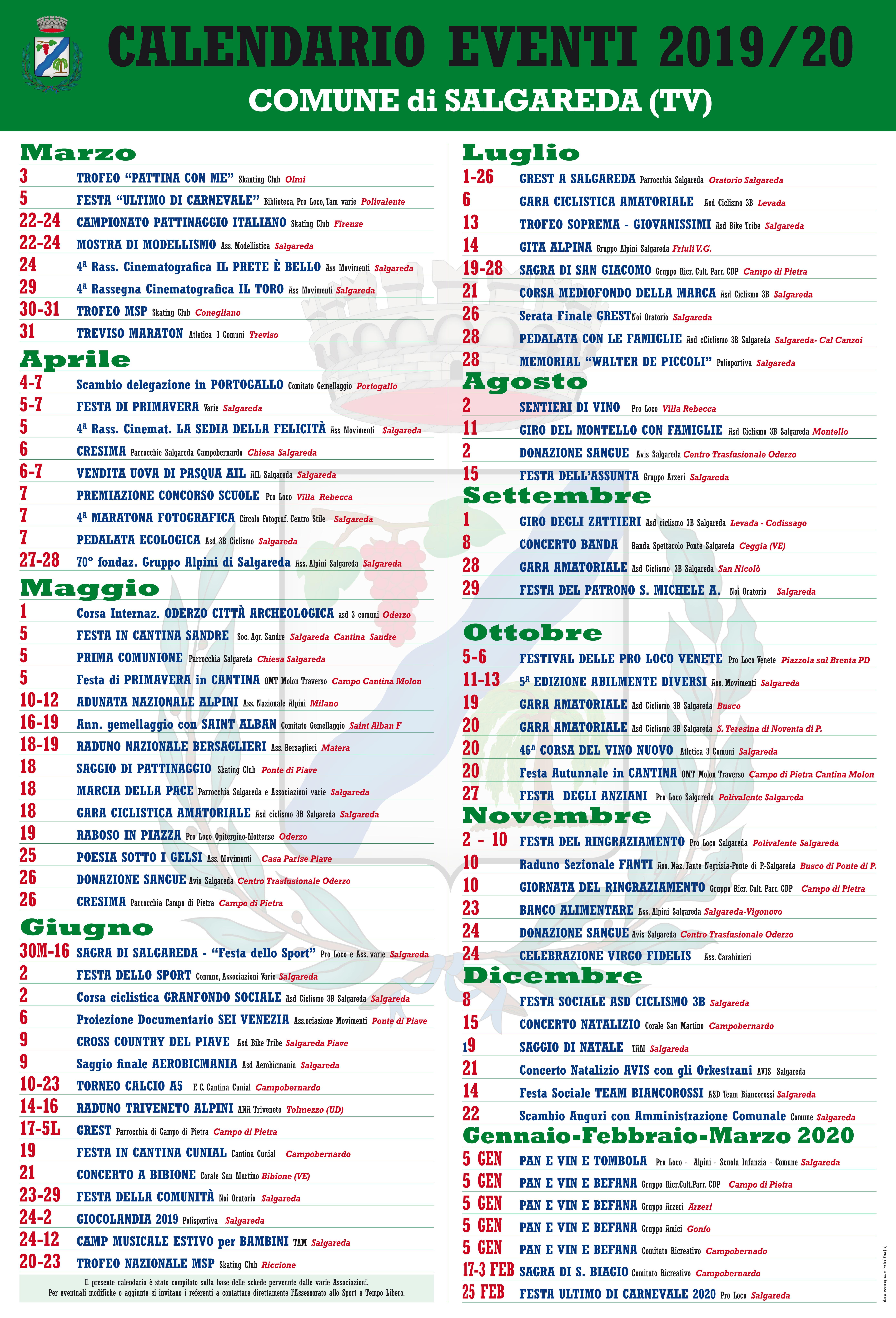 Calendario Eventi 2020.Comune Di Salgareda